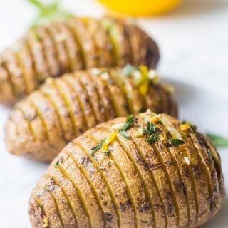 Roasted Garlic Rosemary Hasselback Potatoes