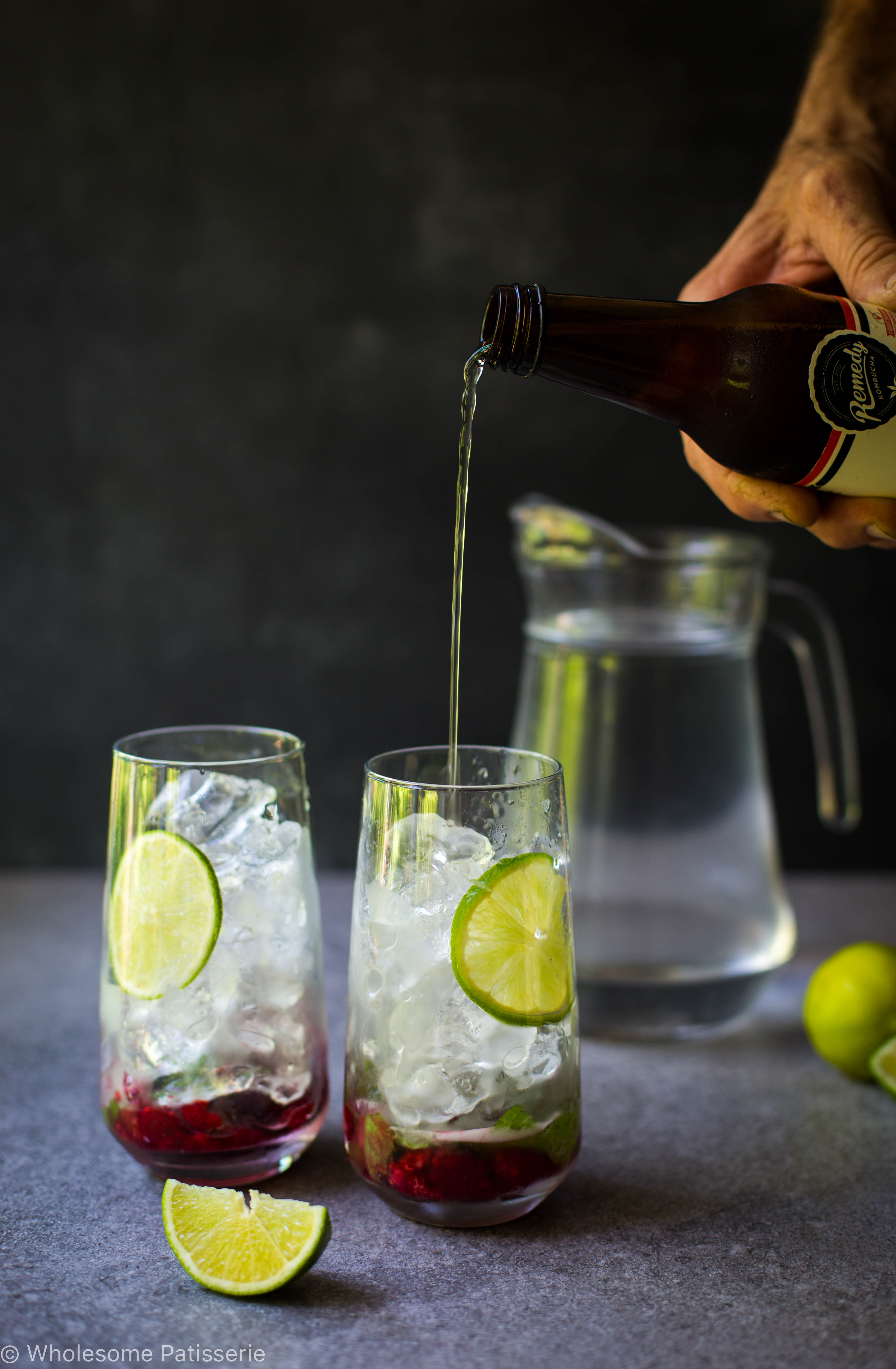 Kombucha Raspberry Mojito Mocktails