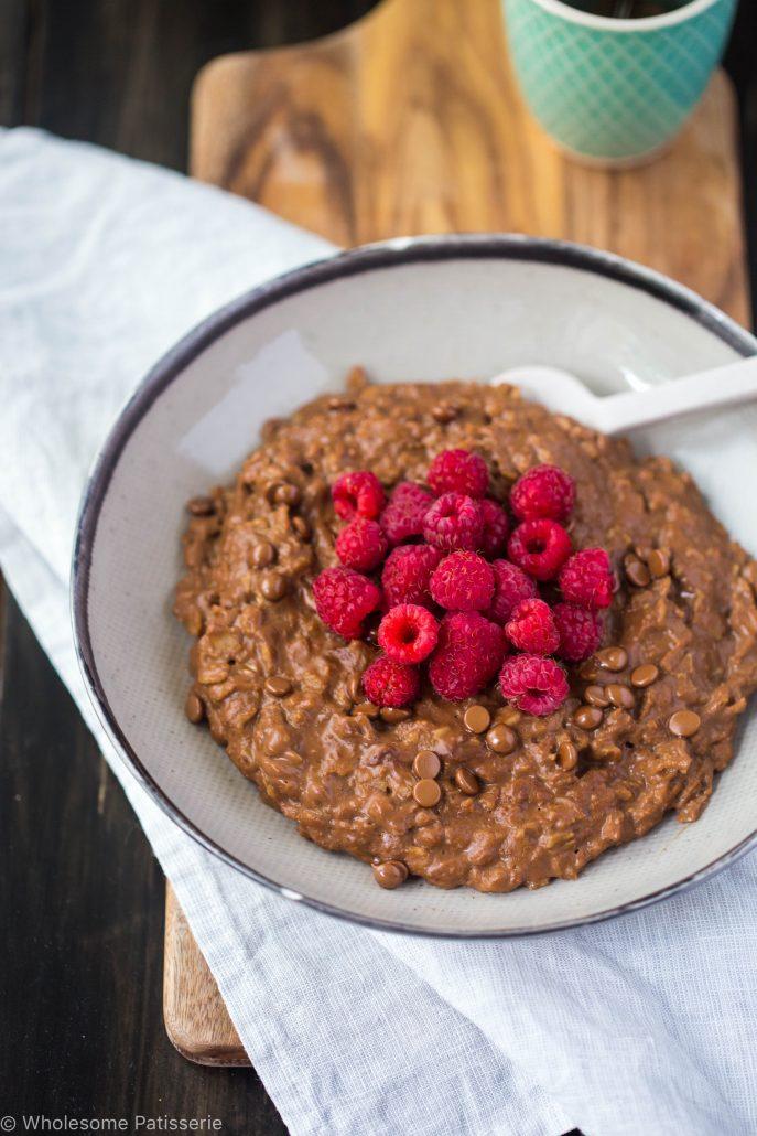chocolate-raspberry-oatmeal-gluten-free-vegan-vegetarian-dairy-free-breakfast-healthy-organic