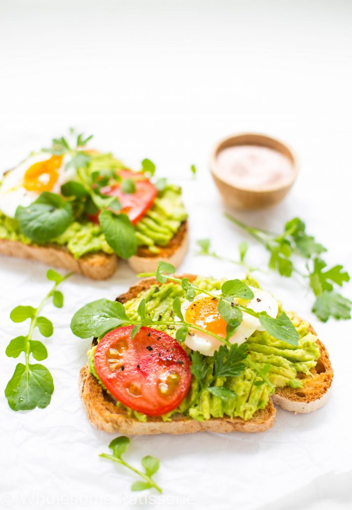 smashed-avocado-toast-healthy-breakfast-gluten-free-boiled-eggs-tomato-vegetarian-healthy