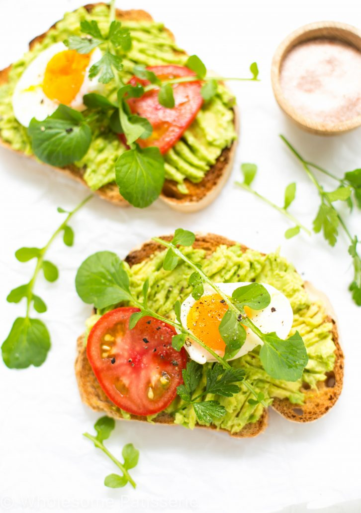 smashed-avocado-toast-healthy-breakfast-gluten-free-boiled-eggs-tomato-vegetarian-healthy-delicious