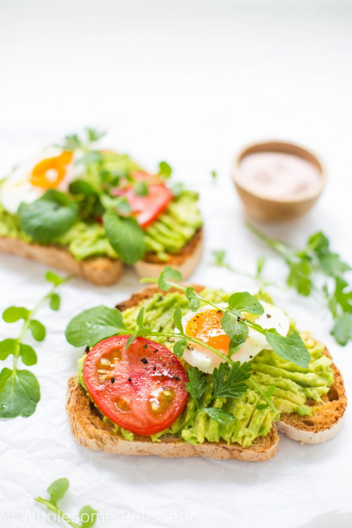 smashed-avocado-toast-healthy-breakfast-gluten-free-boiled-eggs-tomato-vegetarian-healthy-hearty