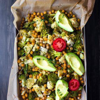 Super Green Roasted Sheet Pan Vegetable Salad