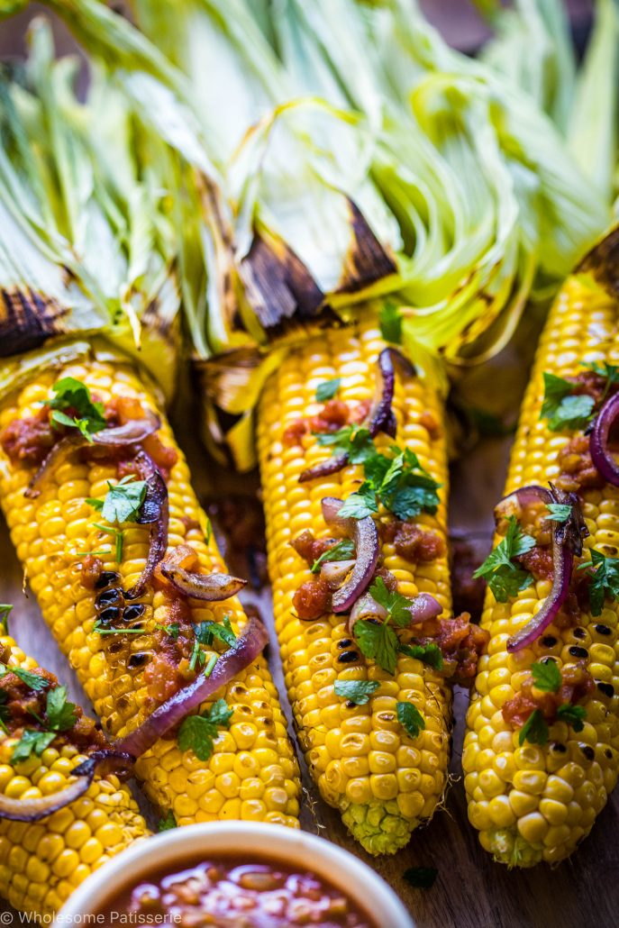 barbecued-corn-with-tomato-relish-and-grilled onions-vegan-gluten-free-dinner-easy