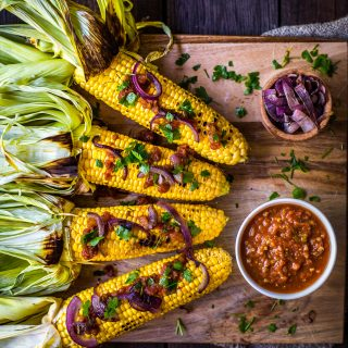 barbecued-corn-with-tomato-relish-and-grilled onions-vegan-gluten-free-dinner-easy-vegan