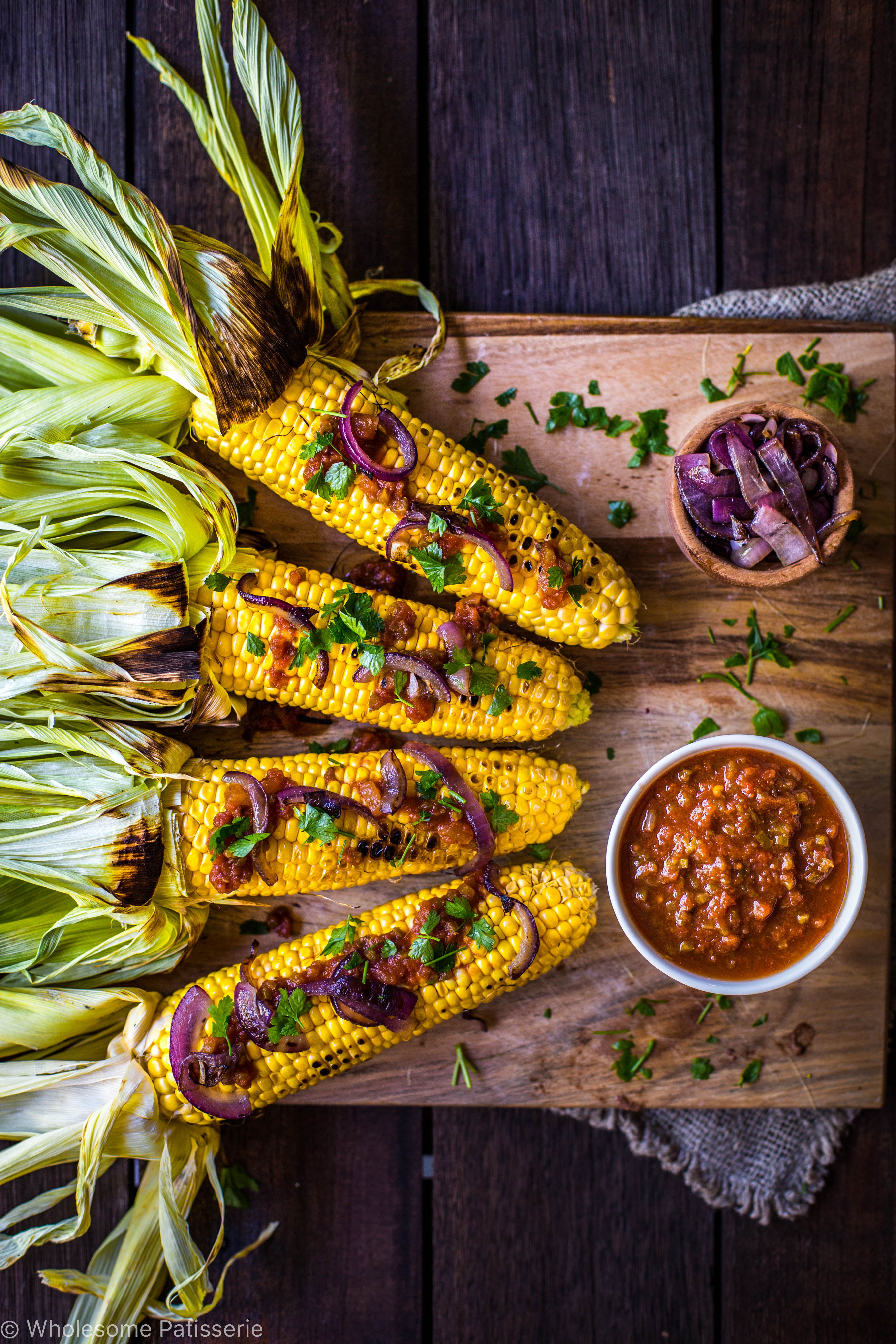 Barbecued Corn w/ Tomato Relish + Grilled Onions