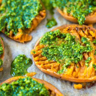 Smashed Sweet Potatoes With Nut Free Pesto
