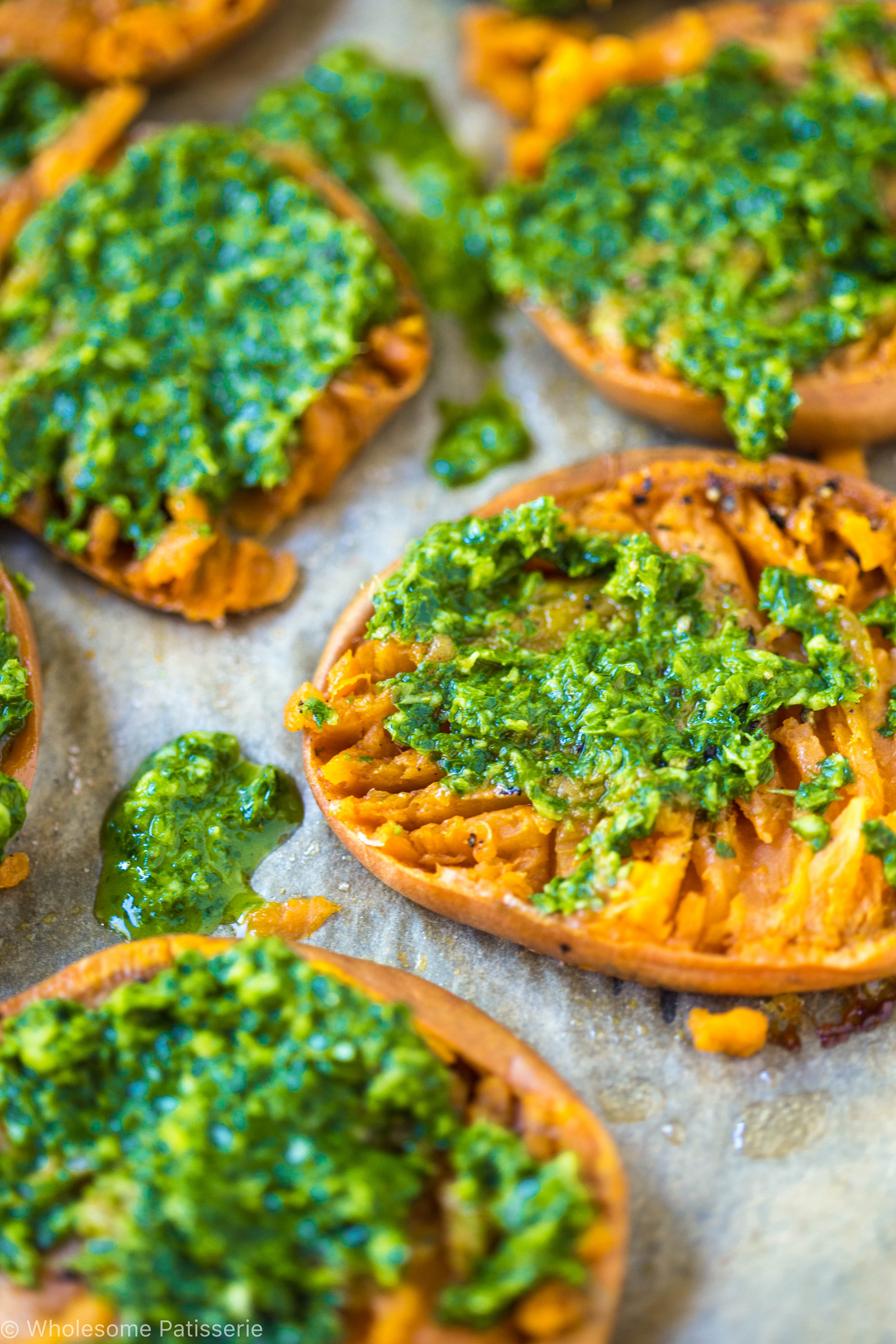 Smashed Sweet Potatoes With Nut Free Pesto