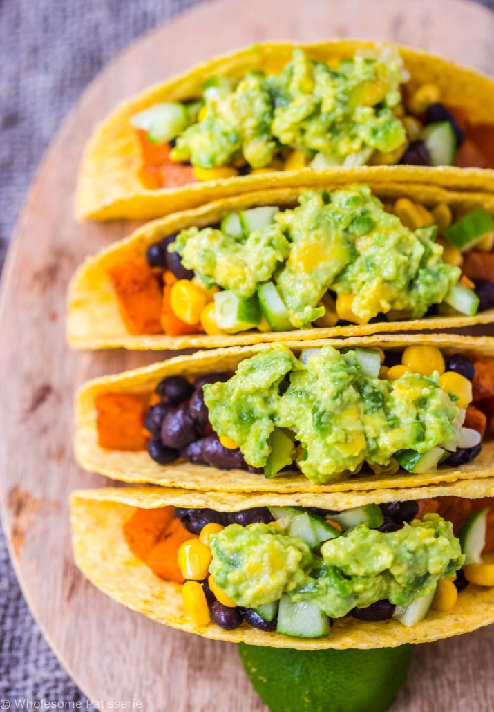 These tacos are super simple to prepare! You just roast the spicy cubed sweet potato and chop up a few ingredients for your toppings and that's pretty much it. I love easy dinners and I bet you do too! Now if you love spice, then you can add your desired amount of chilli flakes onto your roasted sweet potatoes. They are also cooked in ground paprika but I don't find that no where near as spicy as chilli flakes, that one is pretty obvious isn't it?! That is why I have added some refreshing toppings such as diced cucumber, sweet juicy corn kernels and the best avocado sauce ever! I'll let you in on a little secret, if you still find this avocado dressing too involved for a busy weeknight dinner, you can just simply smash some avocado up with a little mayonnaise! I have to let you know though, this avocado dressing is still so easy to make, all done in the one blender and it's my favourite dressing/sauce of all time! YASS!