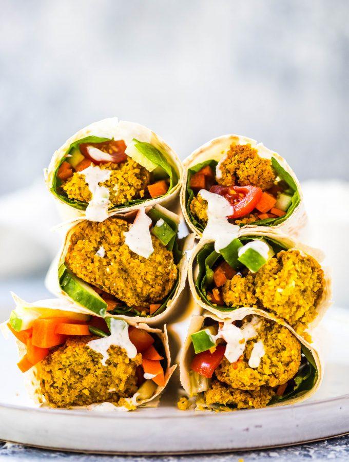 Baked Falafel Wraps + Vegan Tzatziki