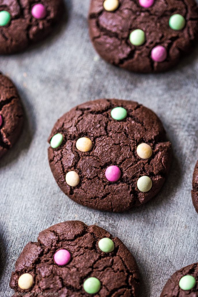 chocolate-m-&-m-cookies-gluten-free-smarties-organic-times-easy-kids-family-dutch-cocoa