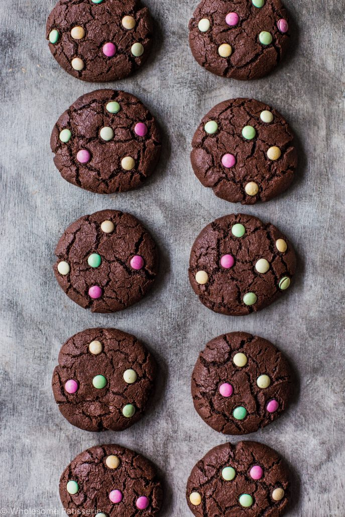 chocolate-m-&-m-cookies-gluten-free-smarties-organic-times-easy-kids-family-dutch-cocoa-delicious