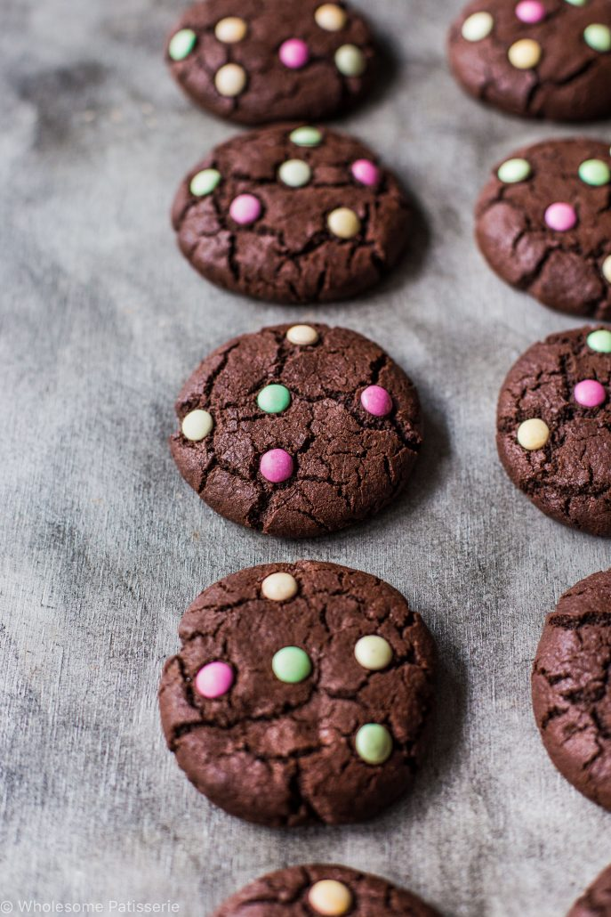 chocolate-m-&-m-cookies-gluten-free-smarties-organic-times-easy-kids-family-dutch-cocoa-healthy