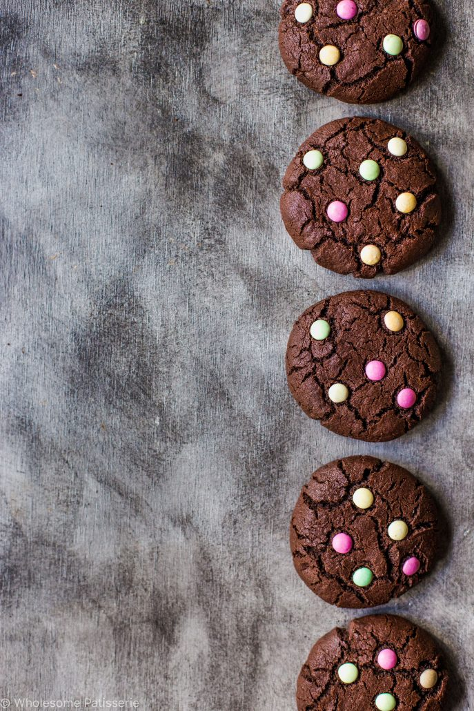 chocolate-m-&-m-cookies-gluten-free-smarties-organic-times-easy-kids-family-dutch-cocoa-simple