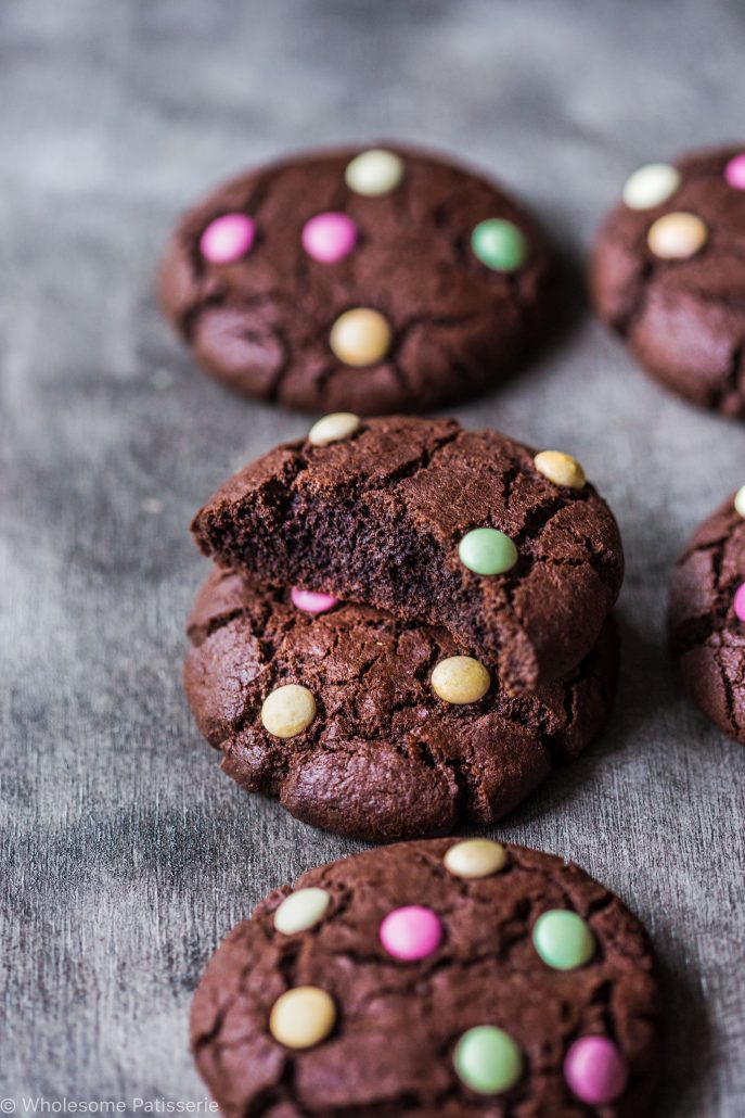 chocolate-m-&-m-cookies-gluten-free-smarties-organic-times-easy-kids-family-dutch-cocoa-soft