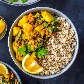 Easy Vegan Potato Lentil Curry