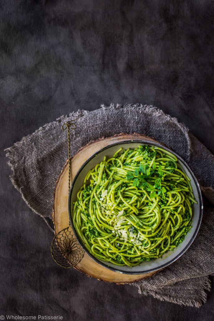 pesto-spaghetti-delicious-gluten-free-easy-nut-free-pesto-dinner-quick-vegetarian-healthy