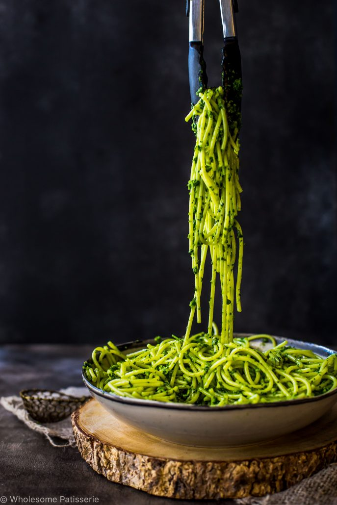 pesto-spaghetti-delicious-gluten-free-easy-nut-free-pesto-dinner-quick-vegetarian-nut-free