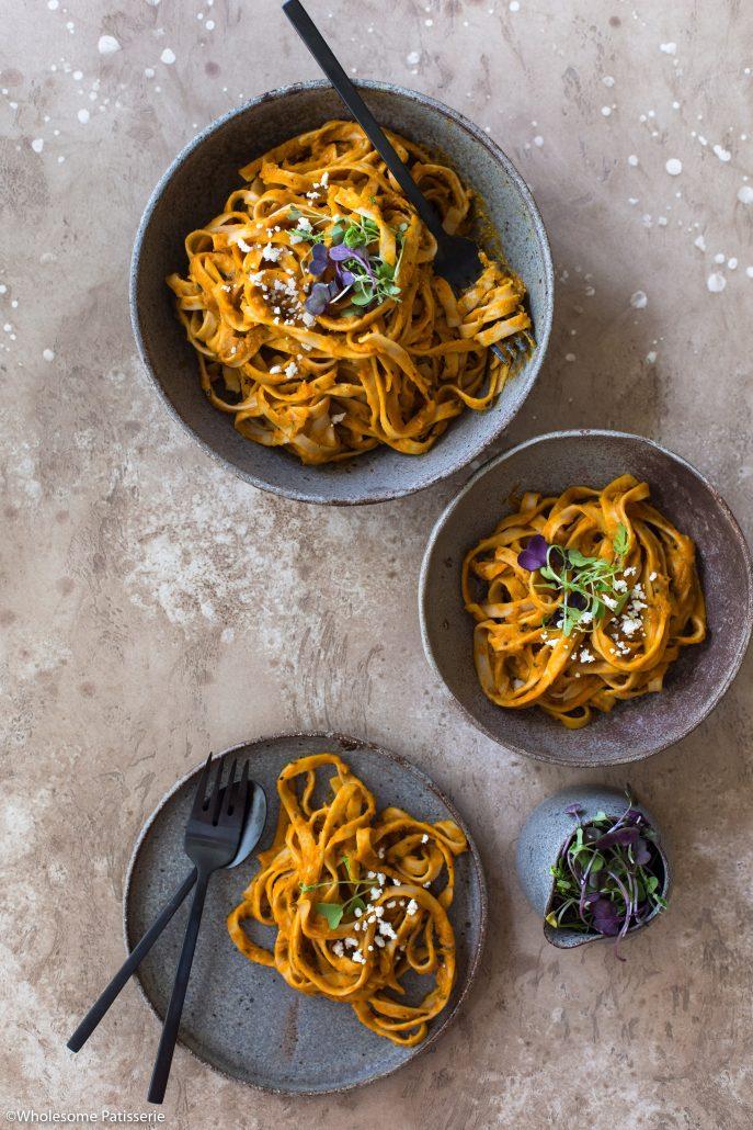 Pumpkin-fettuccine-pasta-dinner-spaghetti-easy-vegan-vegetarian-gluten-free