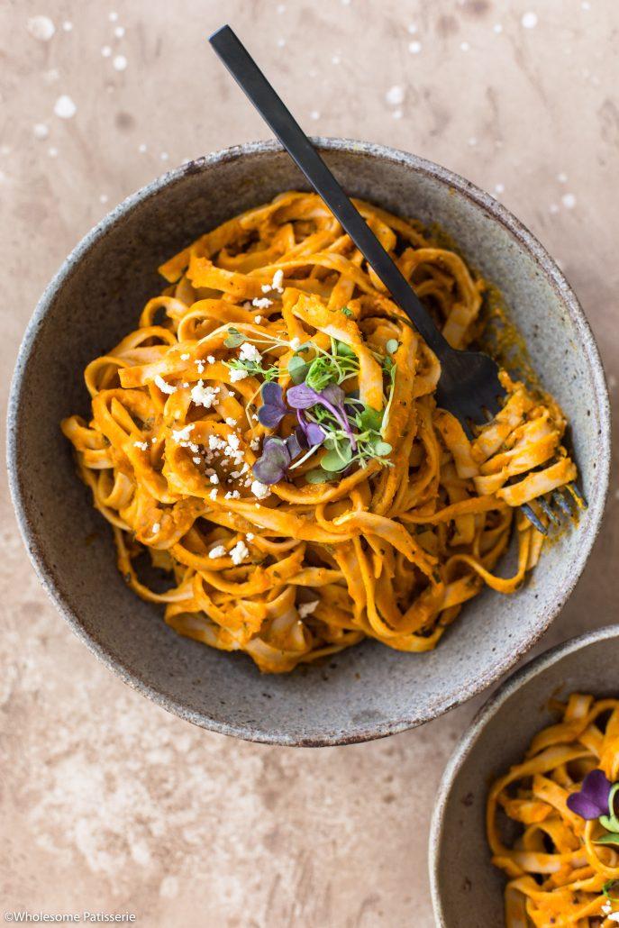 Pumpkin-fettuccine-pasta-dinner-spaghetti-easy-vegan-vegetarian-gluten-free-donna-hay