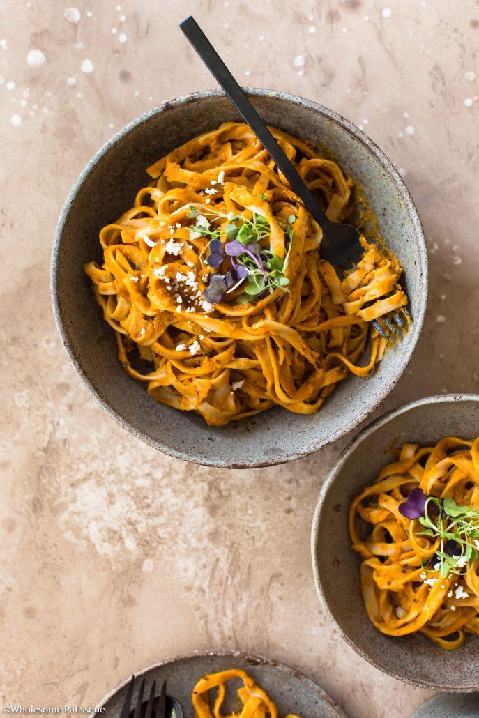 Pumpkin-fettuccine-pasta-dinner-spaghetti-easy-vegan-vegetarian-gluten-free-weekly