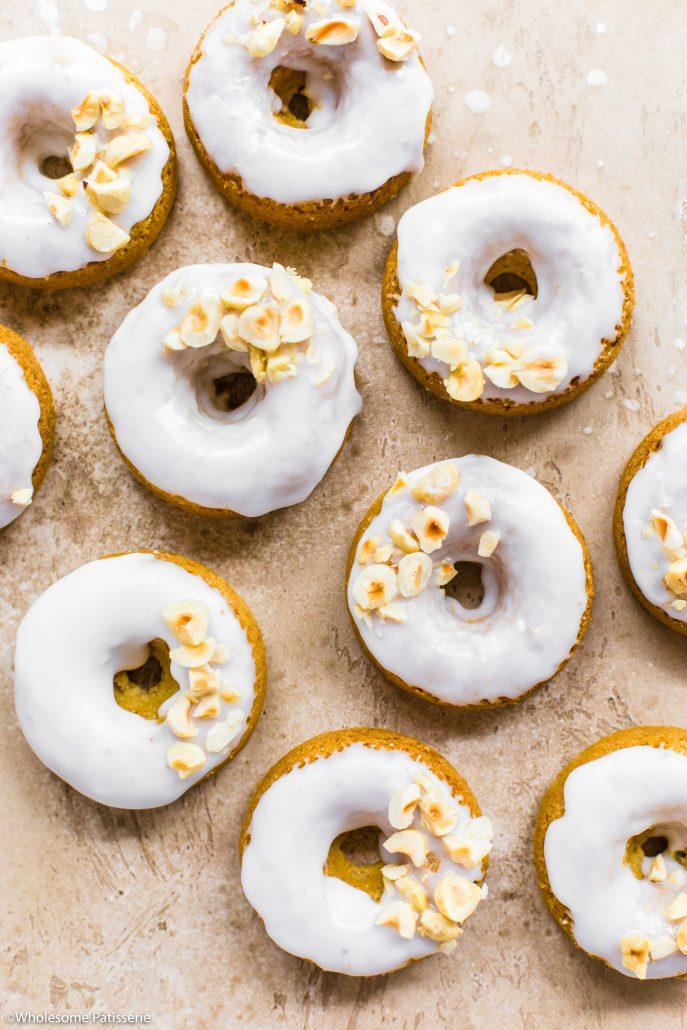 Baked Coconut + Hazelnut Vegan Donuts! #donuts #vegan #glutenfree #snack