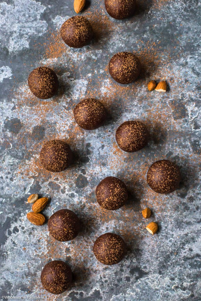 Chocolate Almond Cookie Dough Balls! Vegan + Gluten Free! A satisfying no-bake sweet snack! #glutenfree #vegan #onebowl #nobake