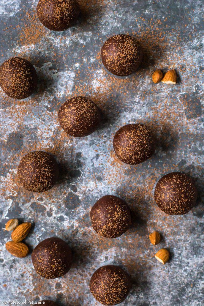 Chocolate Almond Cookie Dough Balls! Vegan + Gluten Free! A satisfying no-bake sweet snack! #glutenfree #vegan #onebowl #nobake