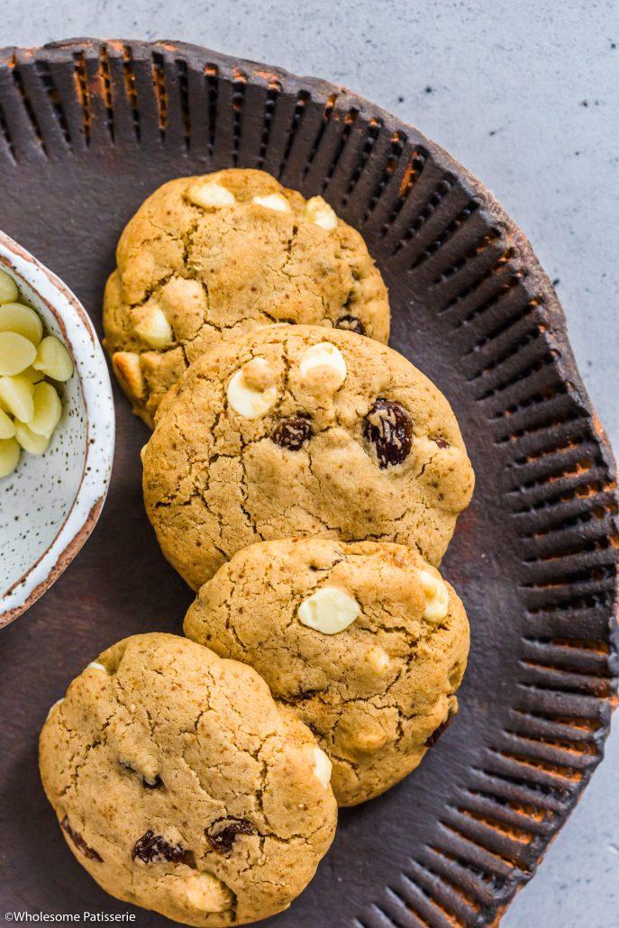 White-chocolate-chip-sultana-cookies-dairy-free-gluten-free-vegetarian-baking-snack-under-10-ingredients
