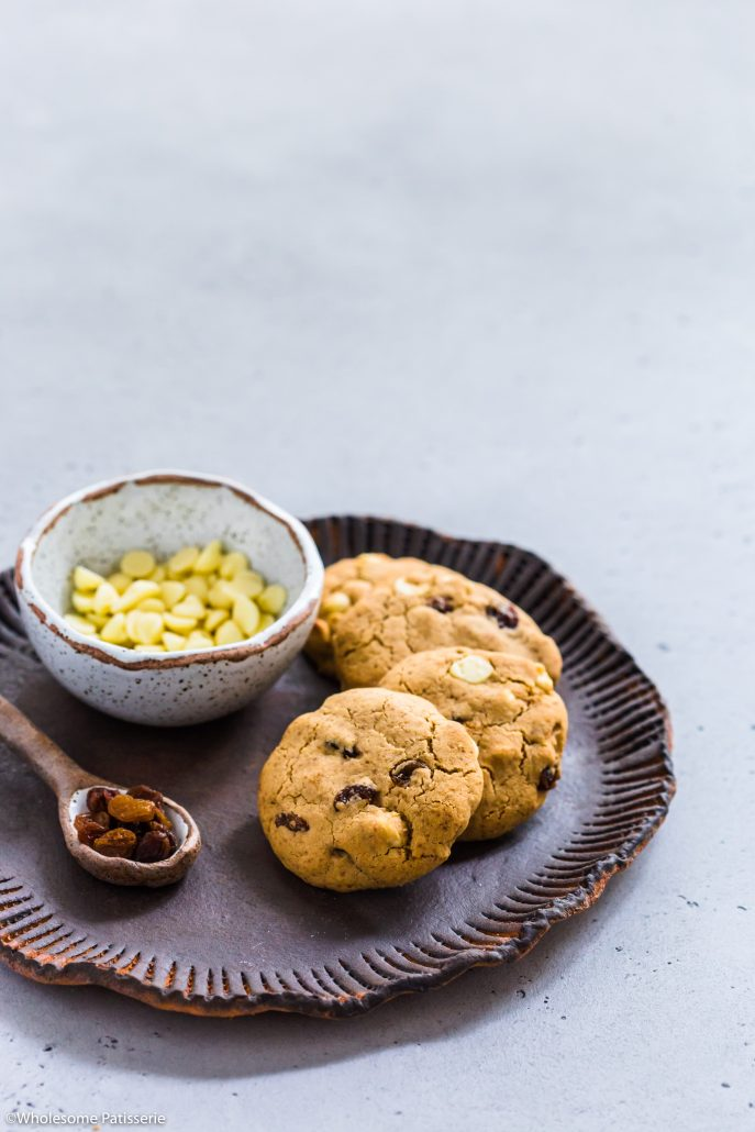 White-chocolate-chip-sultana-cookies-dairy-free-gluten-free-vegetarian-baking-snack-under-10-ingredients-cooking
