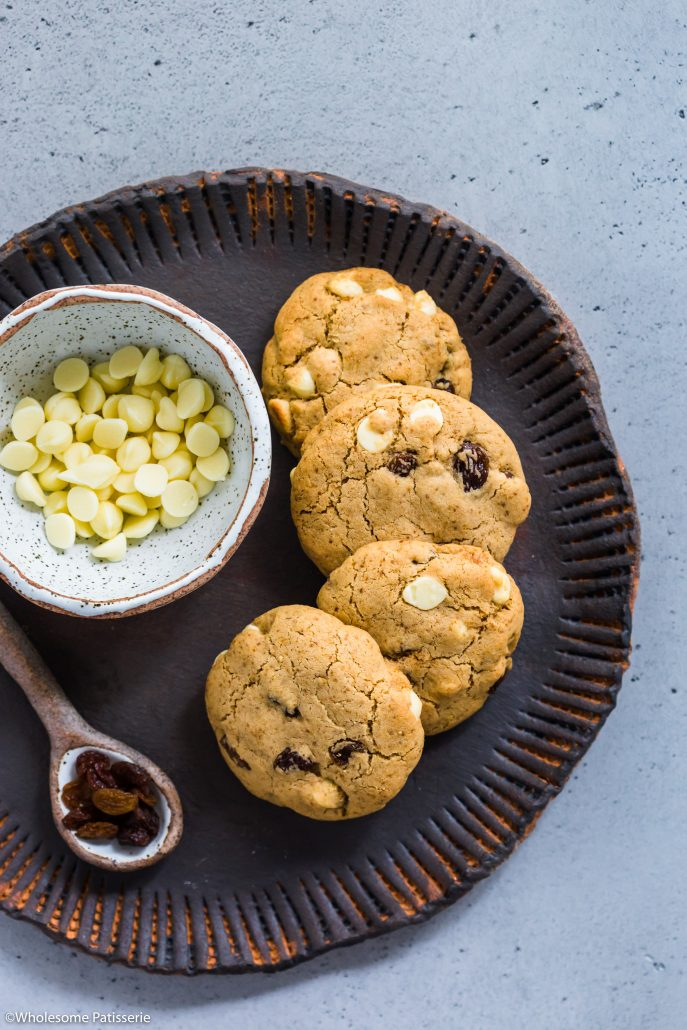 White-chocolate-chip-sultana-cookies-dairy-free-gluten-free-vegetarian-baking-snack-under-10-ingredients-delicious