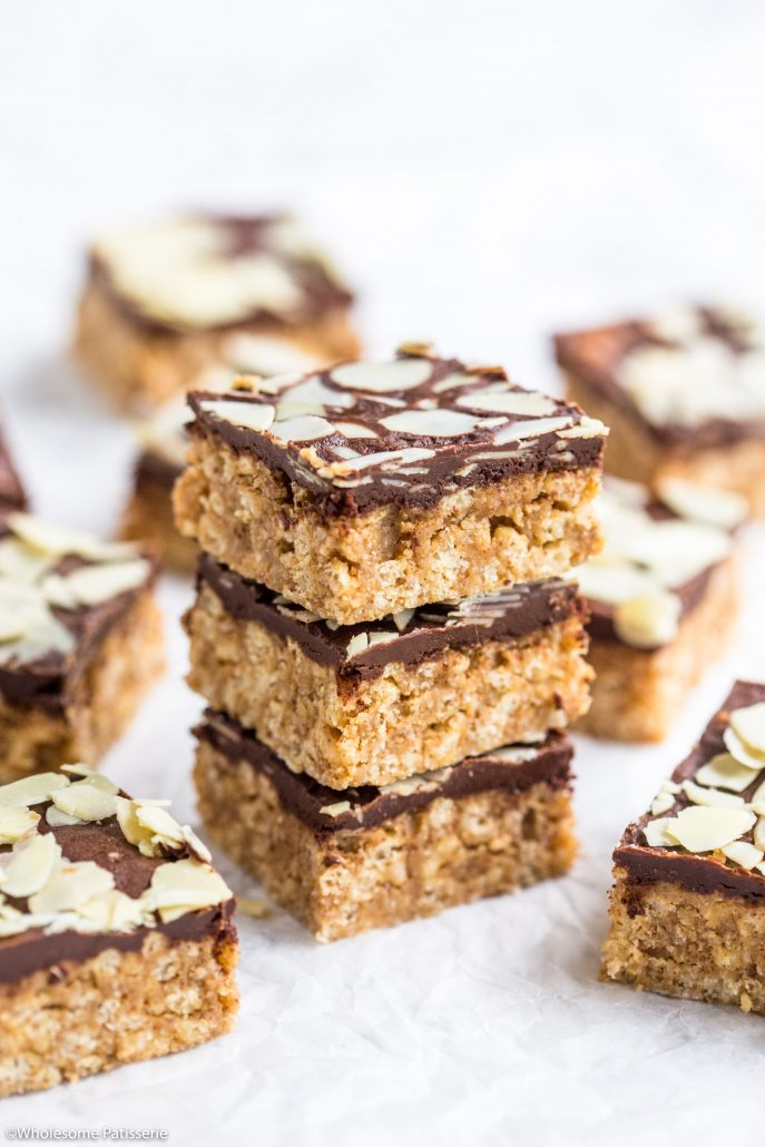 Almond-butter-crispy-chocolate-bars-gluten-free-vegan-no-bake-easy-delicious-2