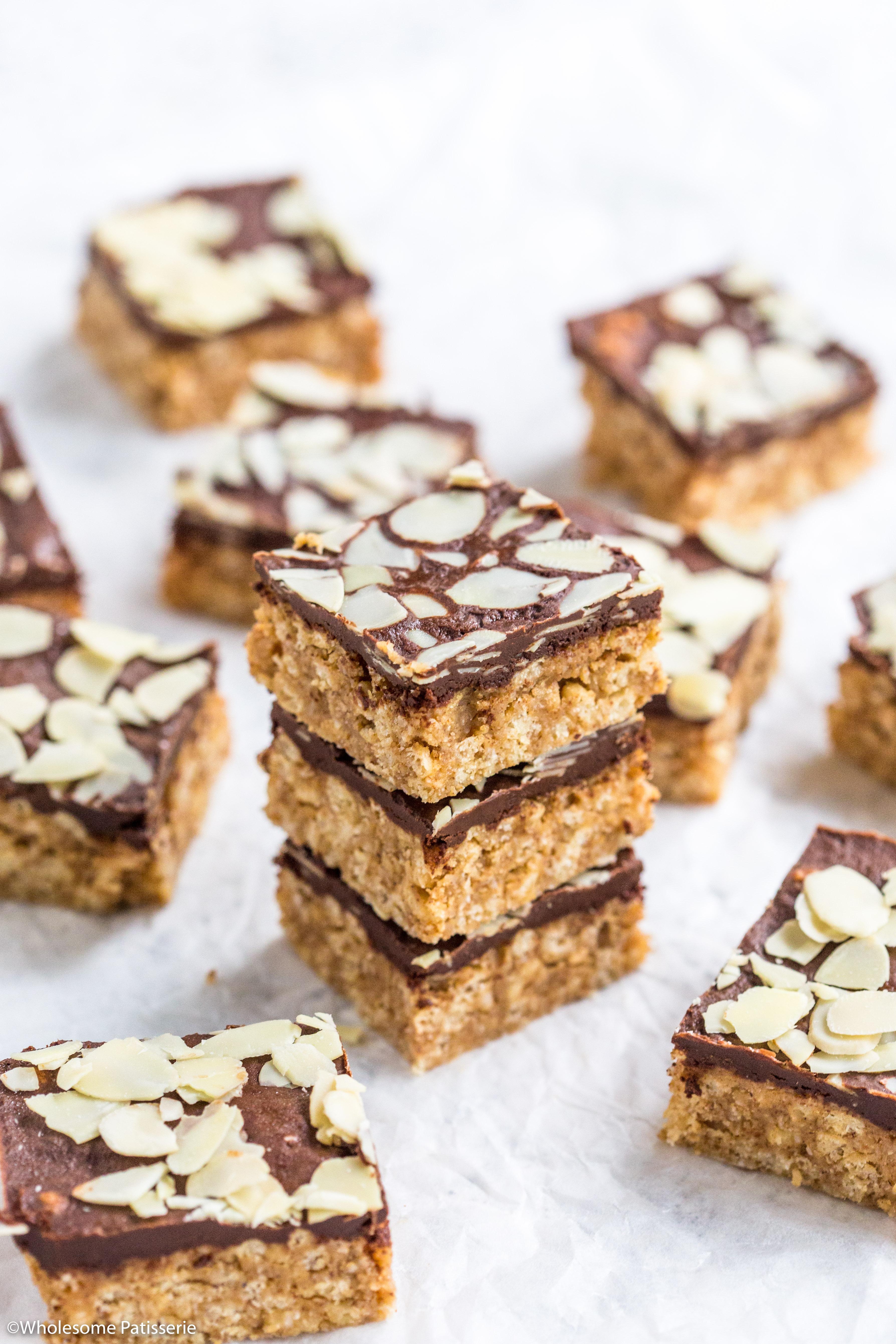 Almond Butter Chocolate Crispy Bars