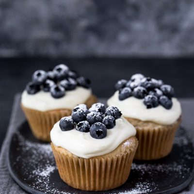 Blueberry Cupcakes with Cream Cheese Frosting