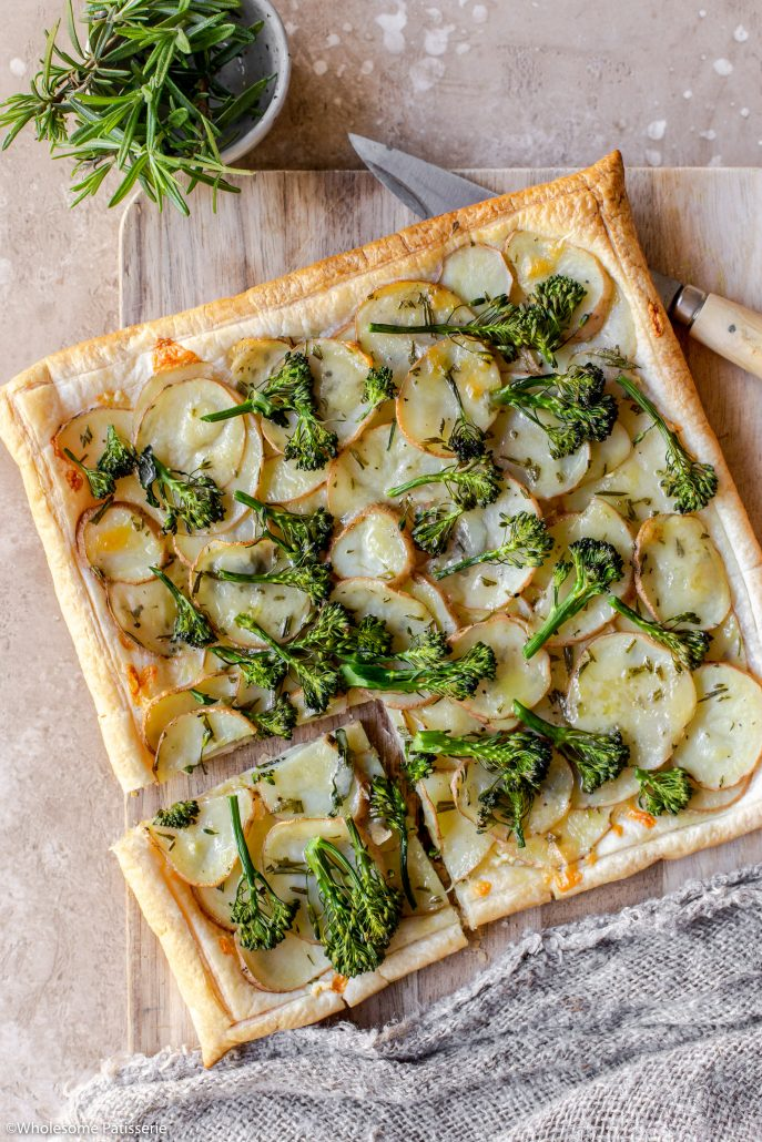 Crispy golden pastry tart filled with rosemary potatoes, extra sharp cheese, garlic and beautiful green broccolini!
