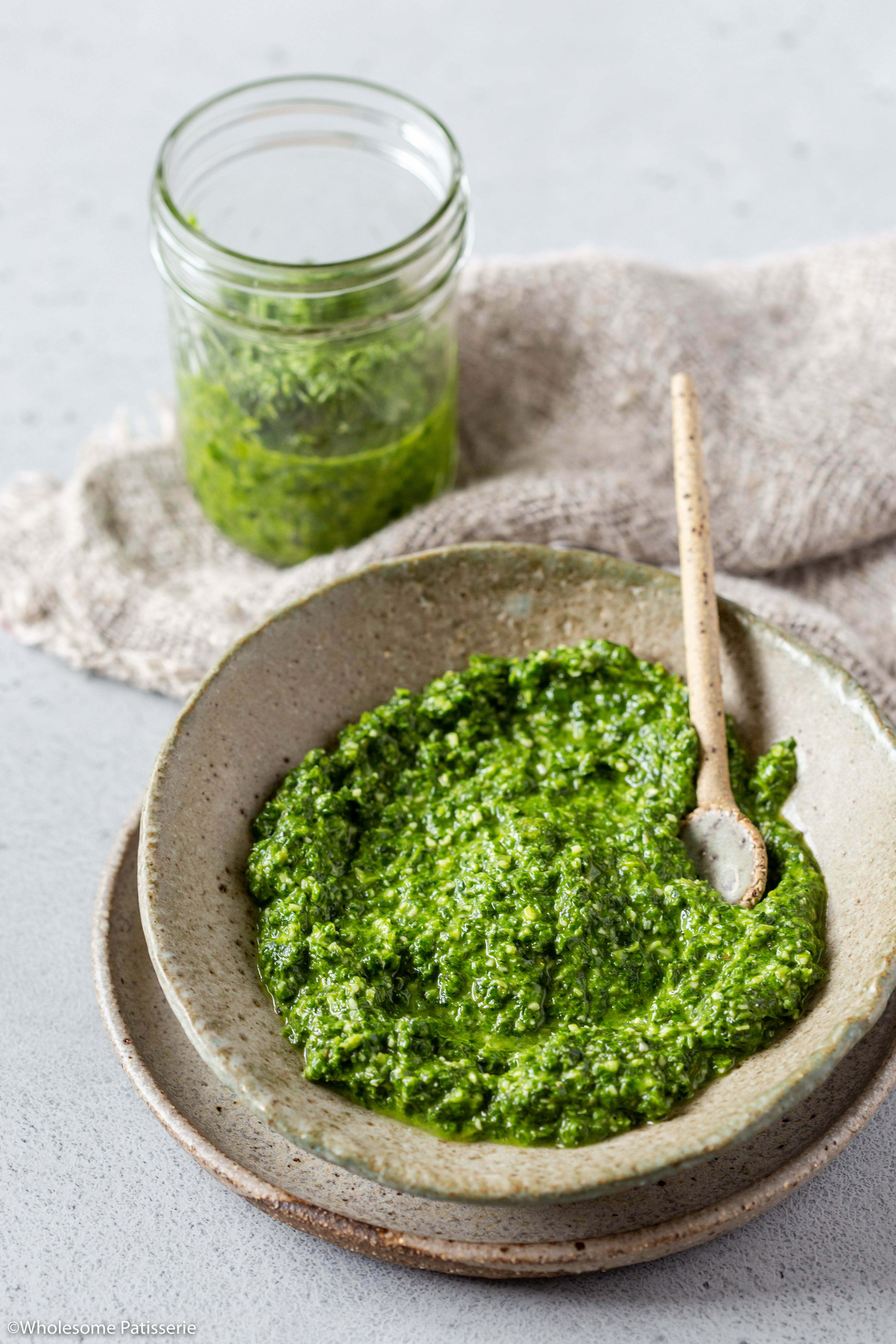 Spinach, Basil and Chive Pesto (Nut Free)! With added fresh ginger and chives, this 10-ingredient homemade pesto pairs well with everything! Can also be made dairy free by replacing the parmesan cheese with nutritional yeast flakes!