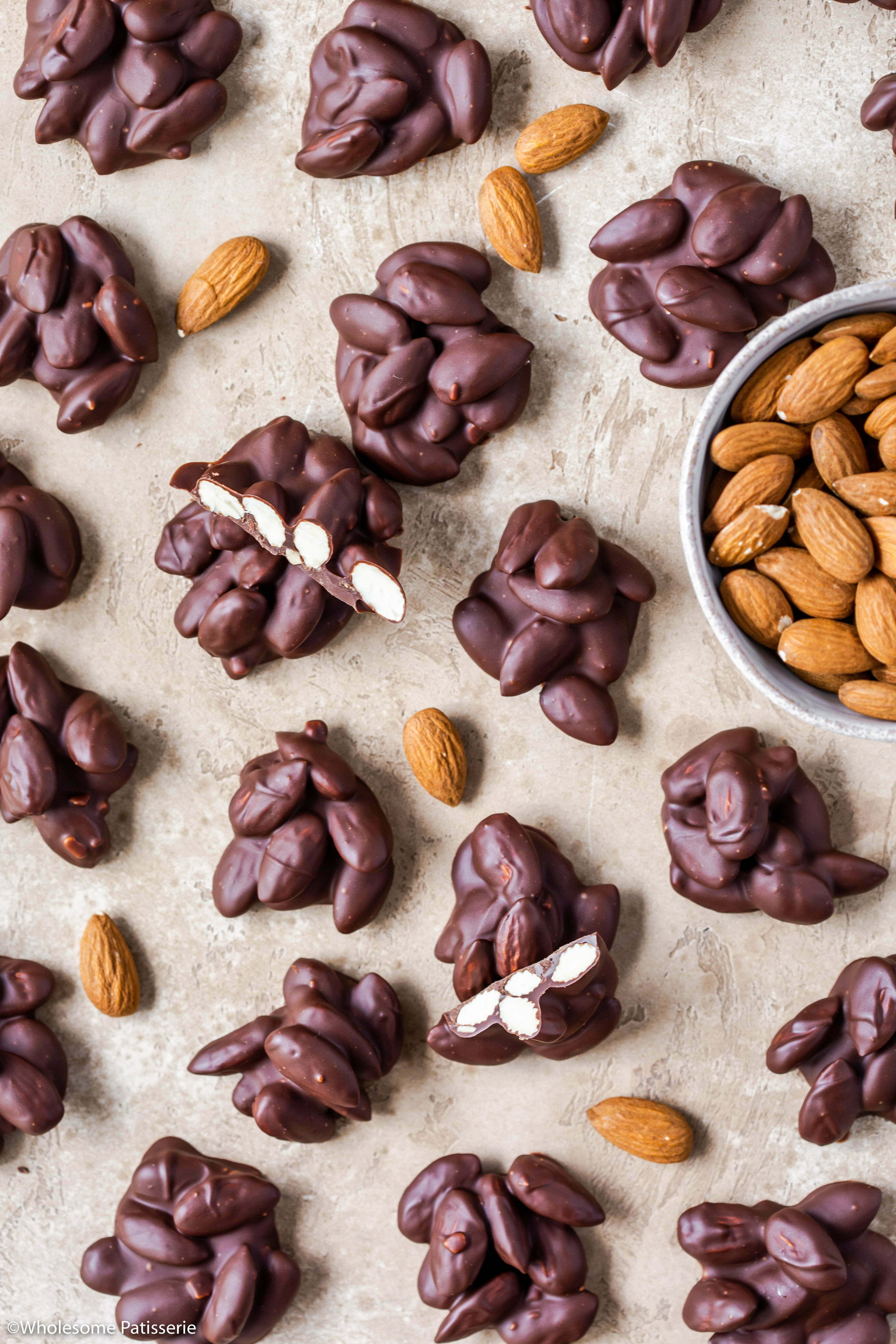 Almond Chocolate Clusters! Sweet little chocolate treats requiring only 3-ingredients!