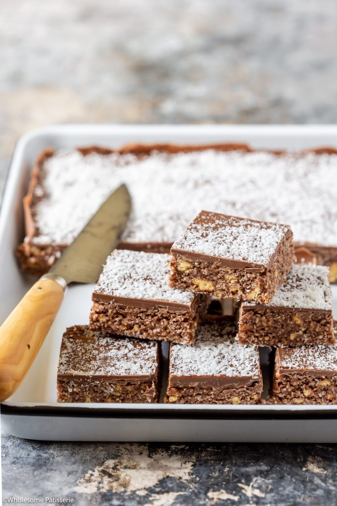 I used plain gluten free arrowroot biscuits for the base but if you cannot find them, just use any plain biscuit from the supermarket, such as plain digestive biscuits. Either regular or gluten free depending on your dietary requirements.   Enjoy this scrumptious Chocolate Coconut Slice friends, I know you will!