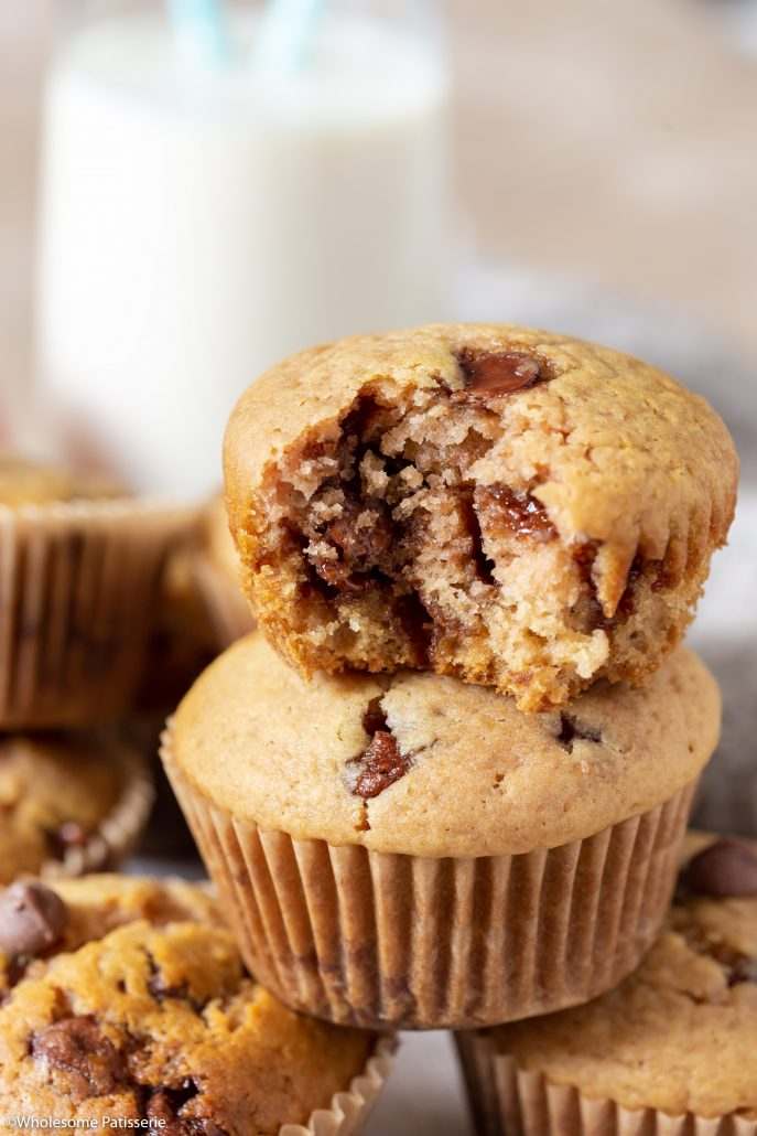 One Bowl Chocolate Chip Apple Muffins! The softest, most fluffiest 9-ingredient muffins requiring zero electrical beaters!