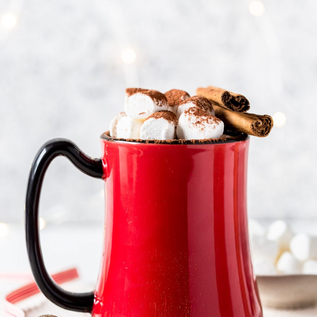 Peppermint & Cinnamon Hot Cocoa! Infused with peppermint essential oil and ground cinnamon! Serve with mini marshmallows and cocoa powder. For you adults, turn this into a nightcap by simply adding rum!