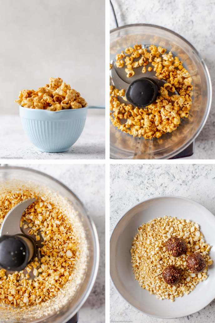 Salted Caramel Popcorn Bliss Balls! The tastiest popcorn infused bliss balls! 5-ingredients, easy and a healthy snack alternative. Addicting yet satisfying!