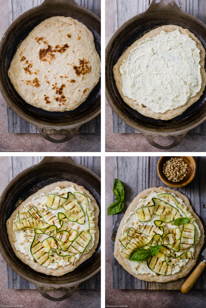 Grilled Zucchini & Whipped Feta Flat Bread! Homemade 3-ingredient flat bread topped with creamy oil and herb infused whipped feta, grilled zucchini, pine nuts & fresh basil!