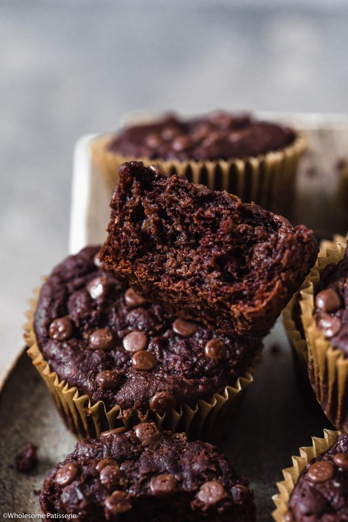 Vegan & Gluten Free Chocolate Chip Muffins! One bowl rich chocolatey goodness! Homemade healthy muffins make for the perfect daily snack!