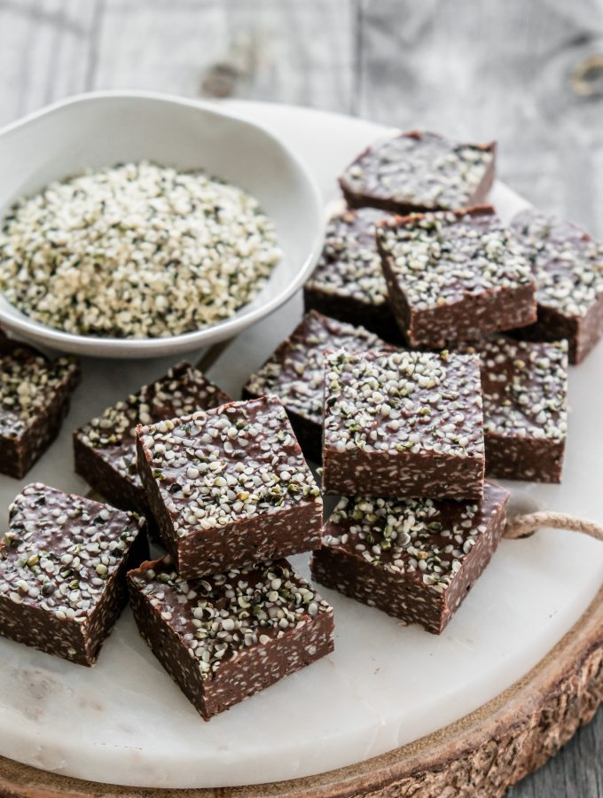 Hemp Seed Fudge! This silky smooth homemade fudge is only 3-ingredients and loaded with natural protein!