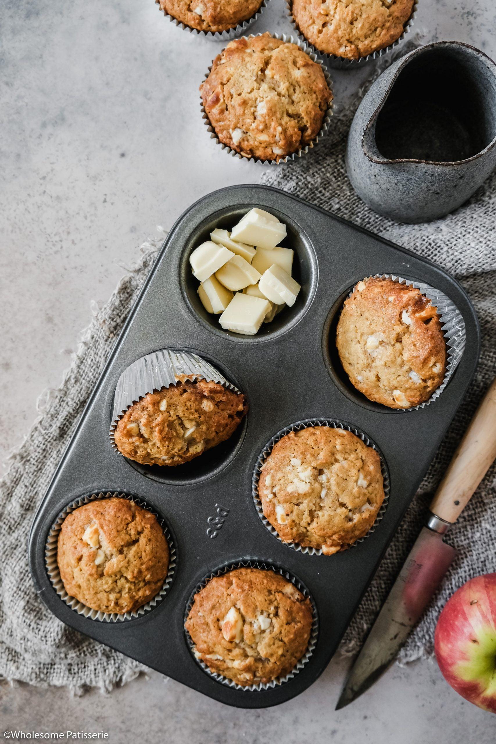 White Chocolate Chunk Apple Muffins