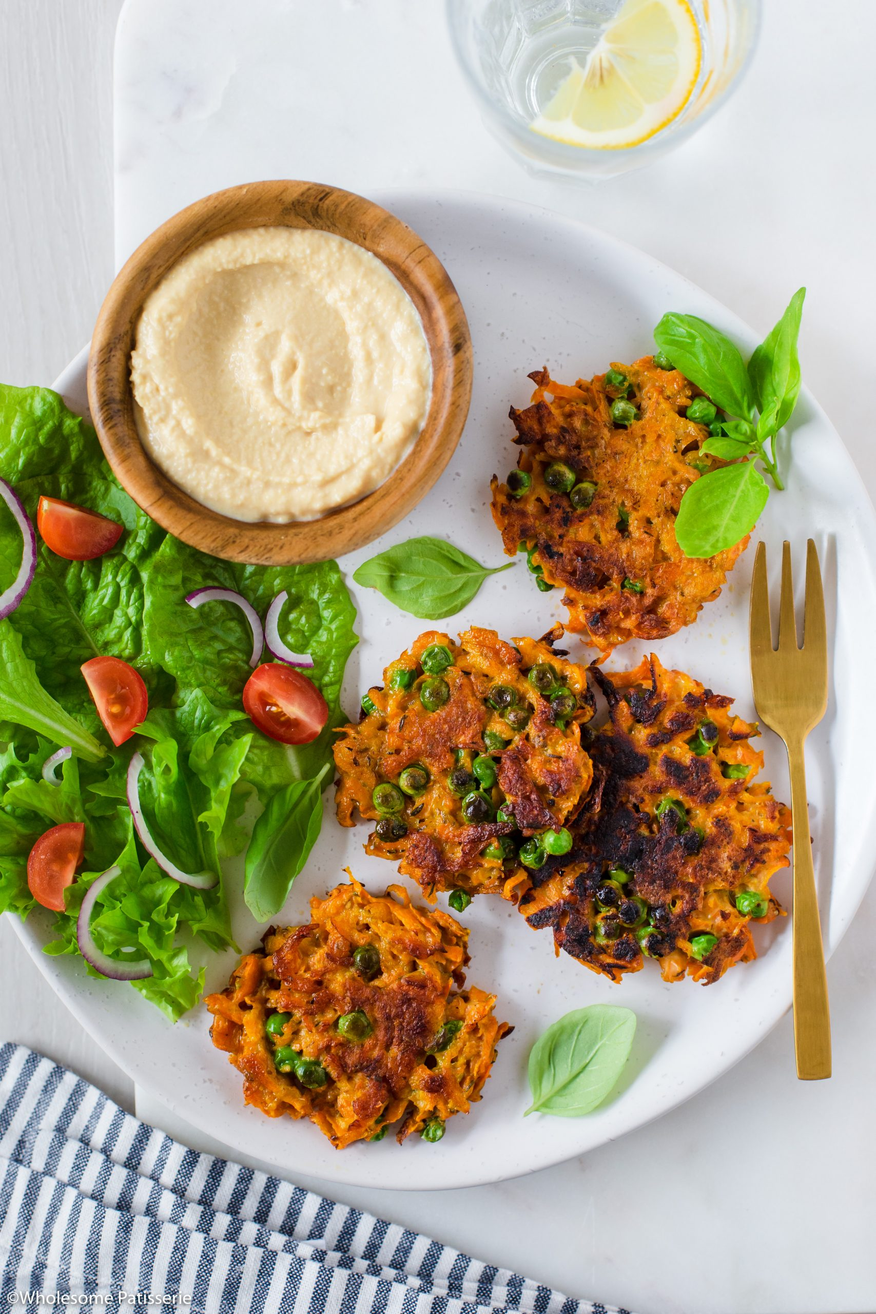 Easy Carrot & Pea Fritters with Hummus & Garden Salad