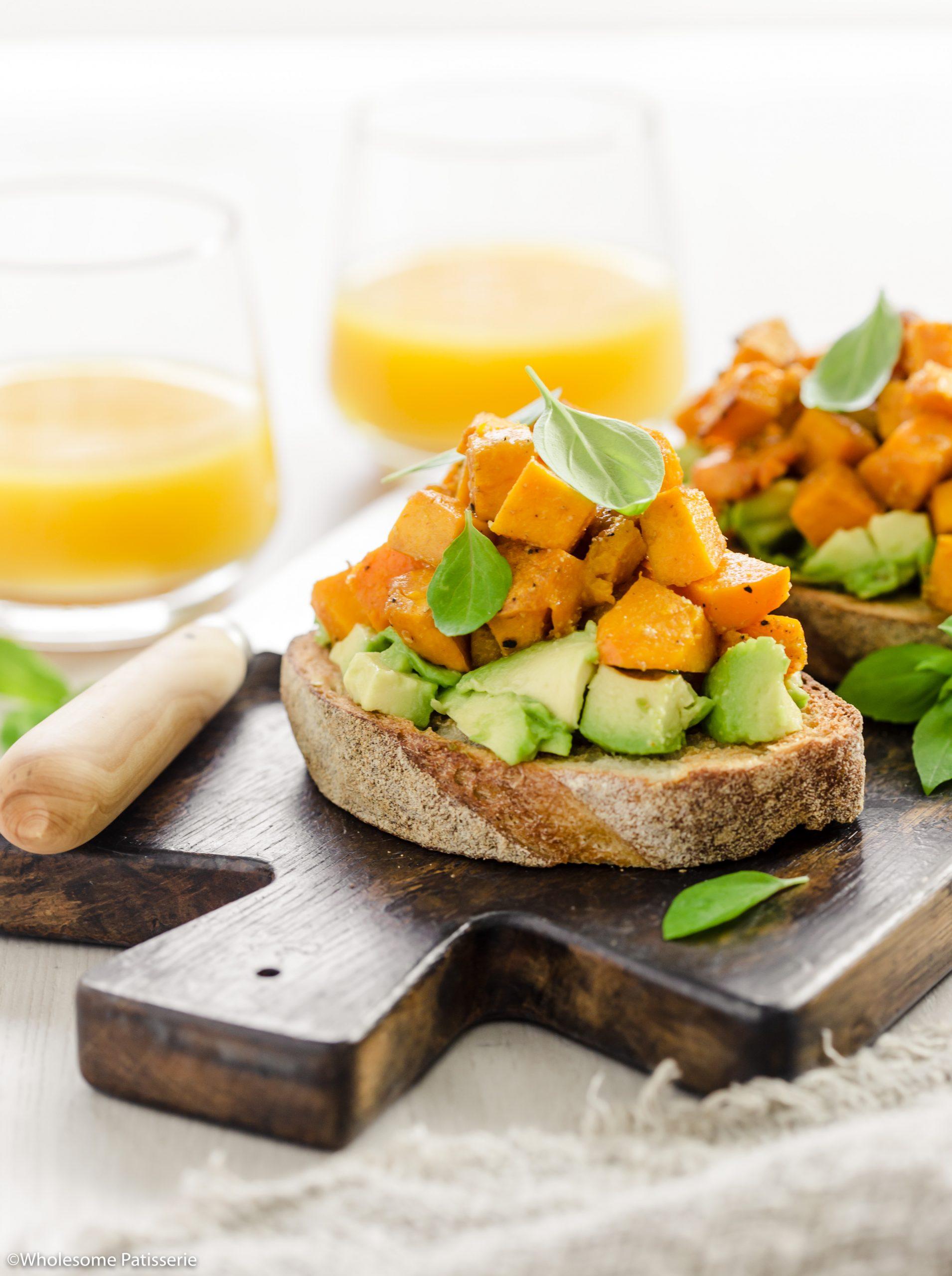 Roasted Pumpkin & Avocado Bruschetta