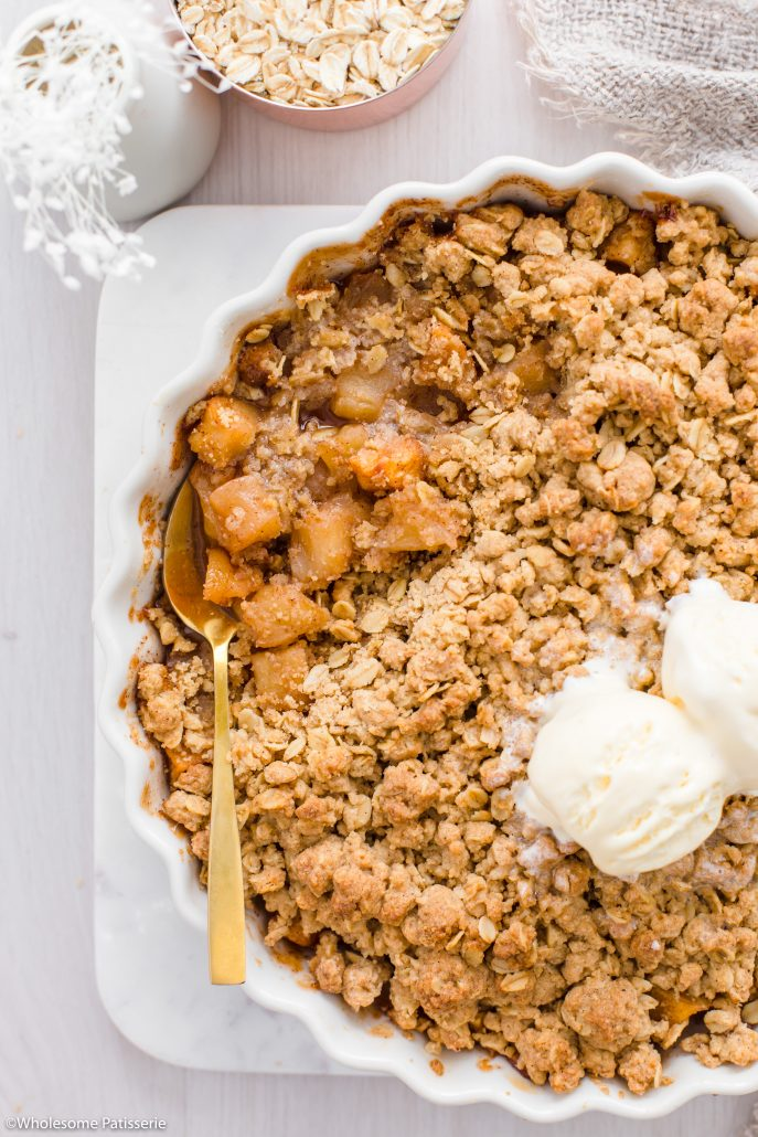 Classic Apple Crisp. This heartwarming family favourite is made with a cinnamon spiced apple filling and a golden spiced crisp topping.