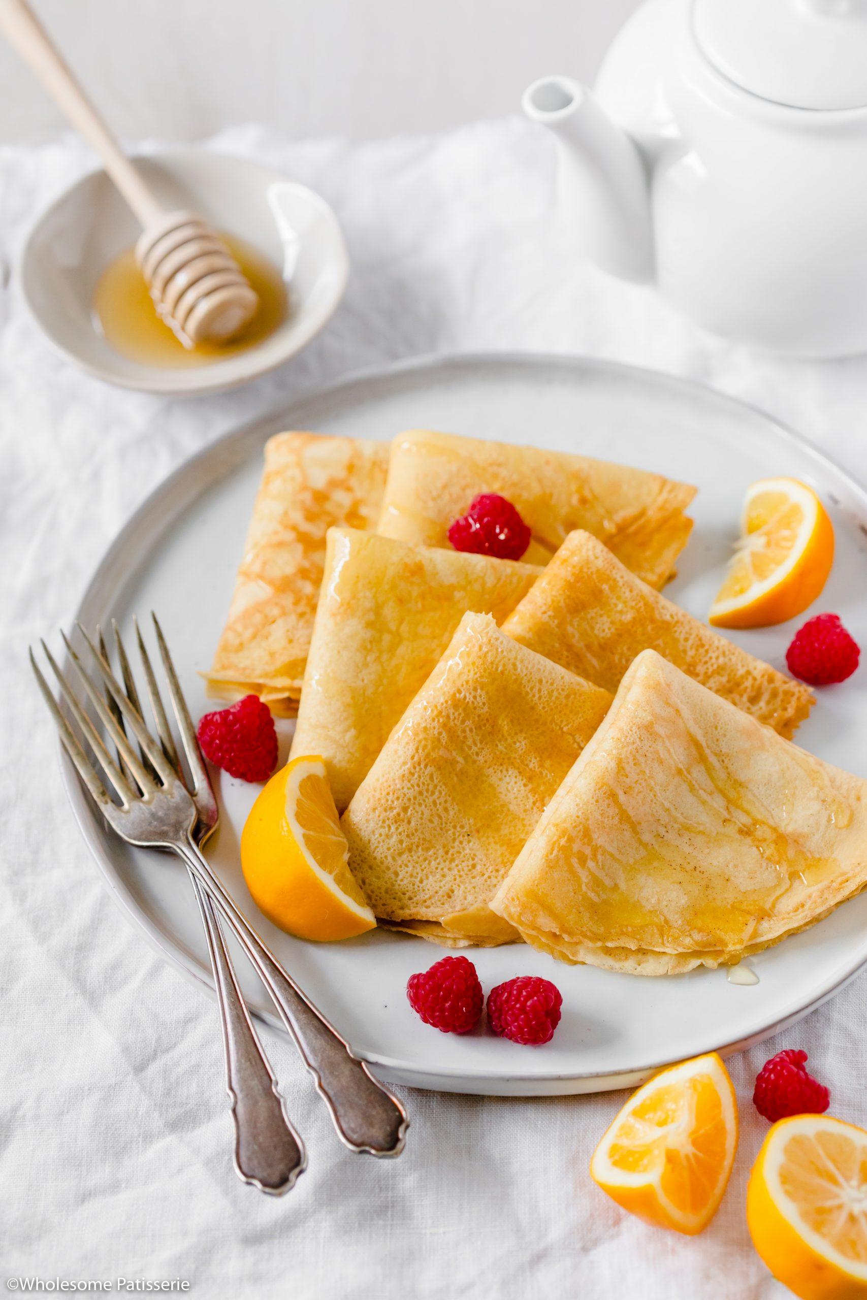 Lemon, Honey & Raspberry Blender Crepes