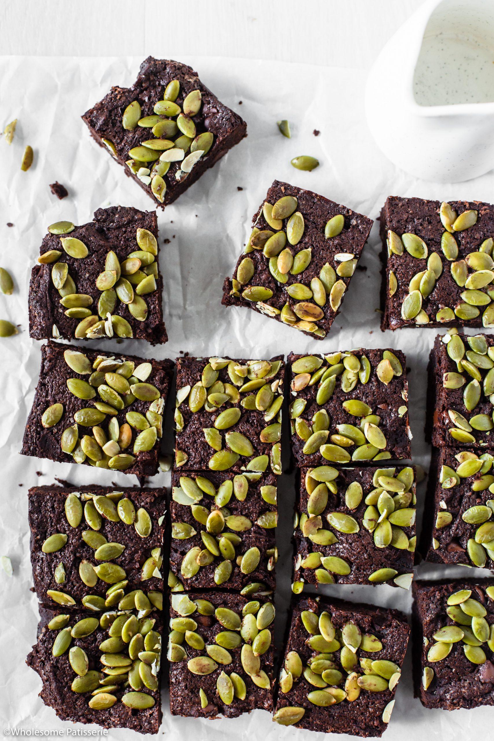 Pumpkin Seed Chocolate Chip Brownies